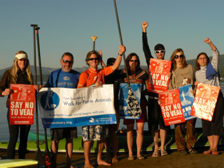 John Merryfield, third from the left, just before he set off to stand-up paddle Lake Tahoe. Photo by Michael Fish